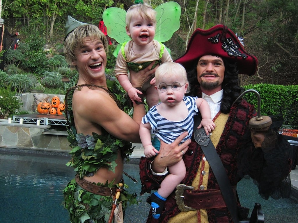 Neil Patrick Harris and His Family as Peter Pan, Captain Hook, Tinker Bell, and Mr. Smee