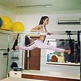 Izabel Goulart shared a photo of her Pilates workout. Source: Instagram user izabel_goulart