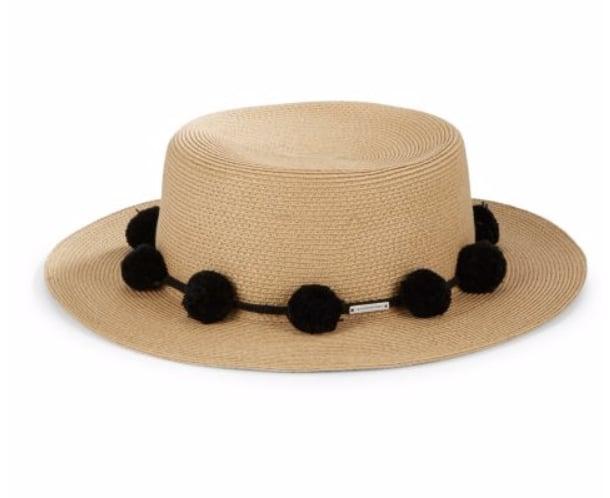 BCBGMAXAZRIA Pom Accented Woven Boater Hat