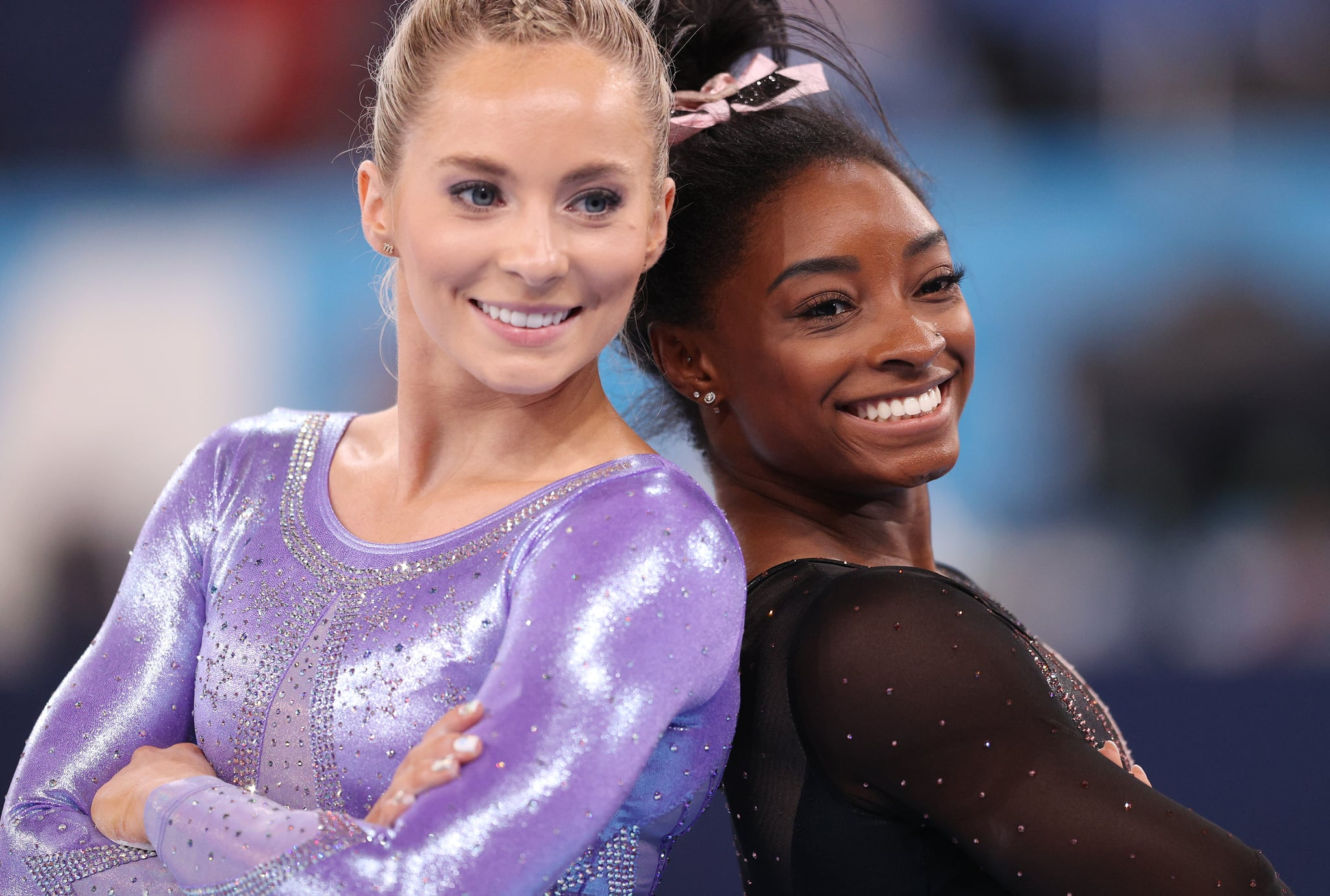 TOKYO, JAPAN - JULY 22: Mykayla Skinner and Simone Biles of Team United States pose for a photo during Women's Podium Training ahead of the Tokyo 2020 Olympic Games at Ariake Gymnastics Centre on July 22, 2021 in Tokyo, Japan. (Photo by Patrick Smith/Getty Images)