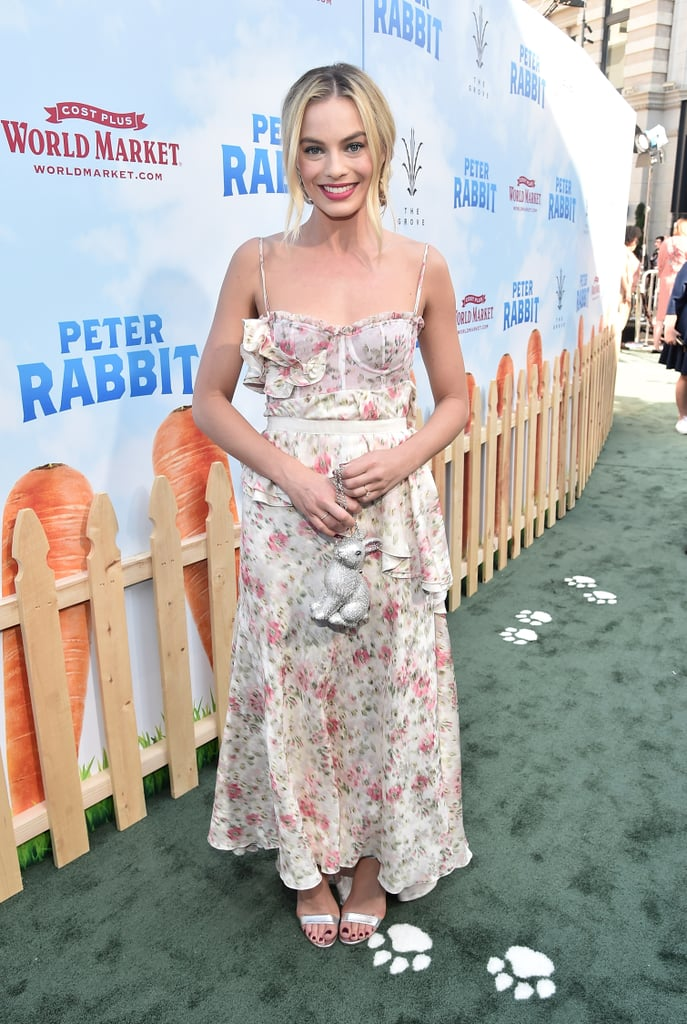 Margot wore Brock Collection's famous florals to the LA premiere of Peter Rabbit in 2018.