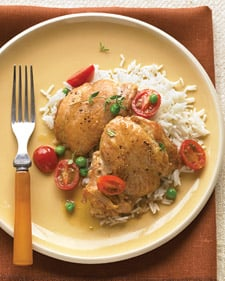 Chicken thighs popsugar food fast easy everyday food recipe for braised chicken with white wine tomatoes and forumfinder Gallery