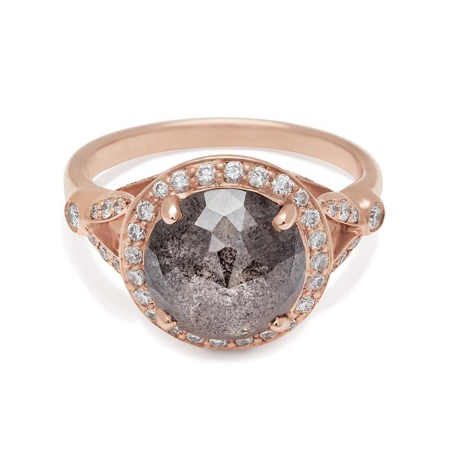 Luna Ring Rose Gold and Rose Cut Grey Diamond 3.98ct