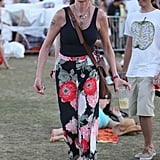 Melanie Griffith wore a pair of floral pants to Coachella's second weekend.