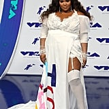"Bearing the title of one of her biggest songs, ""Truth Hurts,"" this wedding-style gown makes Lizzo look like a bride worthy of no other. While her jeweled crown ties the whole look together, we also love that she kept the look casual in a pair of sparkling white and silver sneakers."