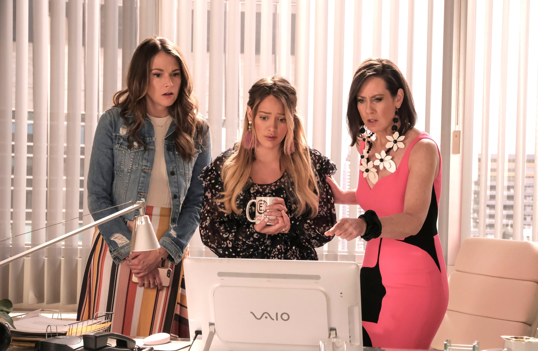 YOUNGER, from left: Sutton Foster, Hilary Duff, Miriam Shor, 'Lizability', (Season 5, ep. 512, aired Aug. 28, 2018). ©TV Land / courtesy Everett Collection