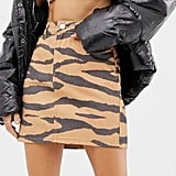 ASOS DESIGN Co-Ord Denim Skirt in Tiger Print ($56)