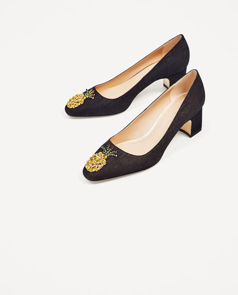 Zara Mid-Heel Denim Shoes