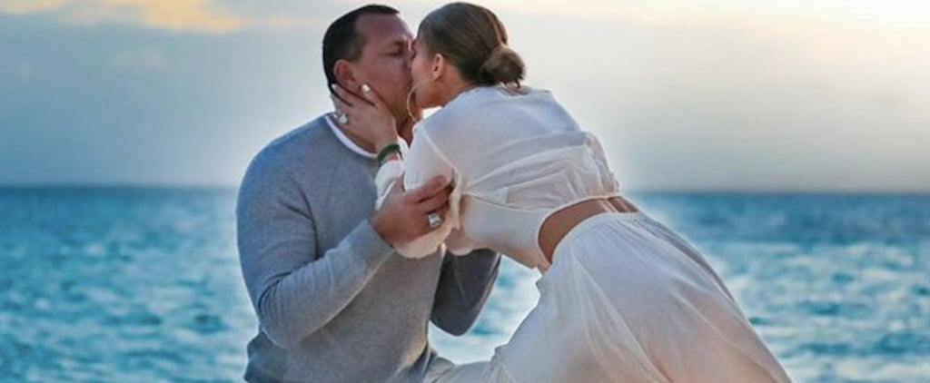 Jennifer Lopez White Crop Top Set in Engagement Photos