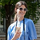 Hanneli Mustaparta showed off her on-trend perspex shades (and a cute iPhone case!).