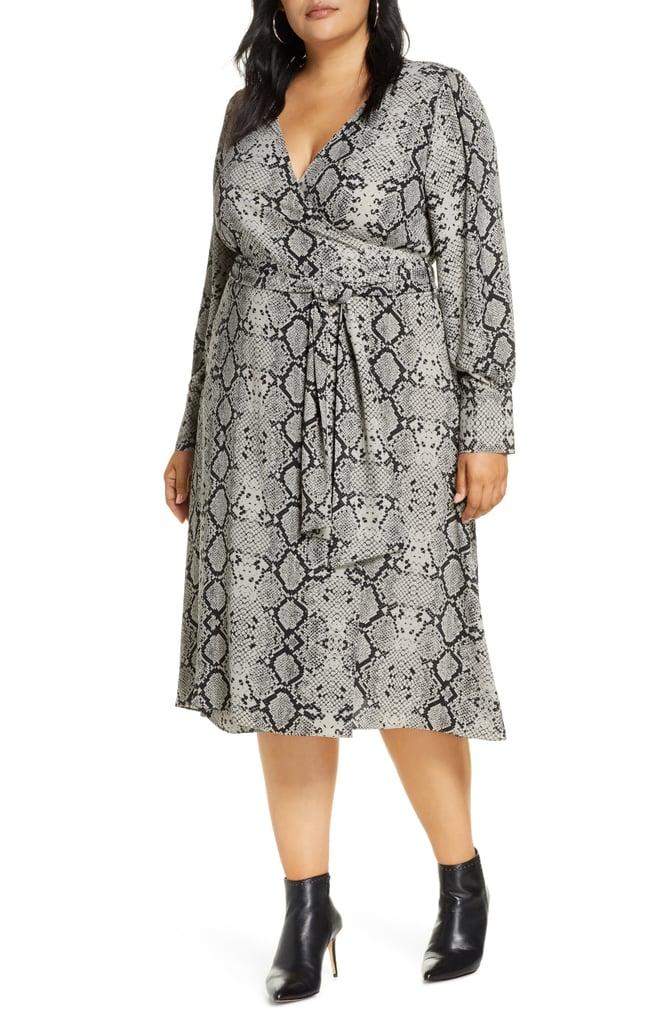 Halogen Long-Sleeve Midi Wrap Dress