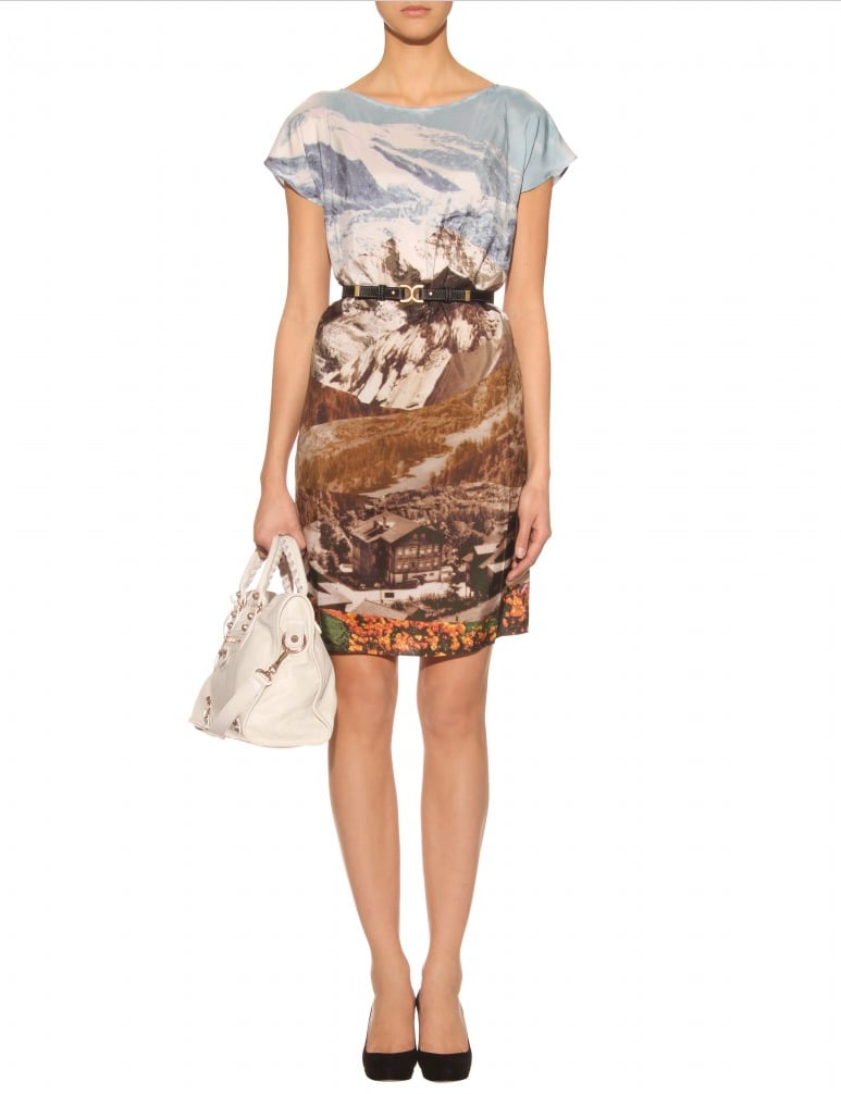 This rustic, mountain-embellished silk shift dress can easily go from day to night with just a few easy accessory changes.  Carven Photo-Print Silk Shift Dress ($521)