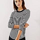 Loft Striped Shirttail Sweater