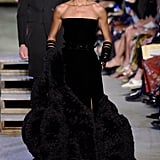 Joan Smalls wore a dramatic strapless ball gown that was complete with edgy rows of bangles.