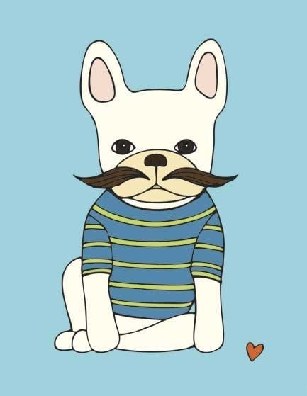 Henri Hopper French Bulldog With Mustache Print