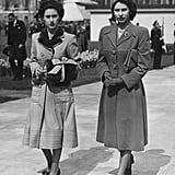 The sisters walked side by side after an event in 1948.