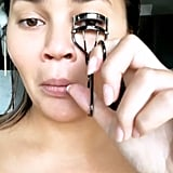 "While using her eyelash curler on camera, she exclaimed, ""Oh my god, I'm a beauty blogger!"""