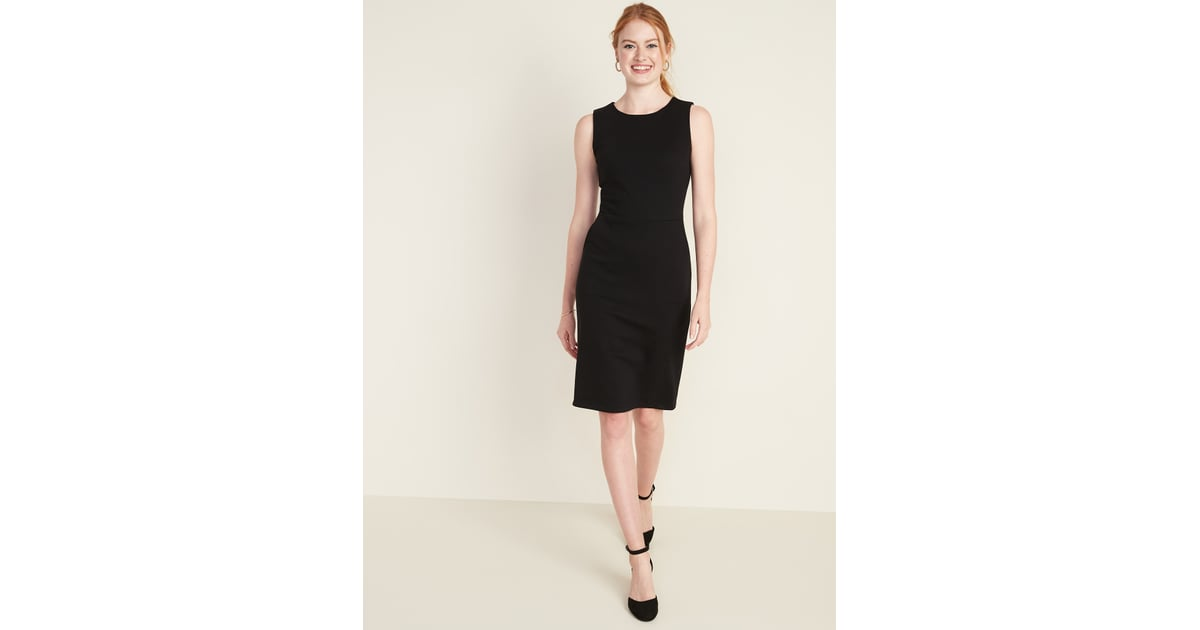 Sleeveless Ponte Knit Knee Length Sheath Dress for Women