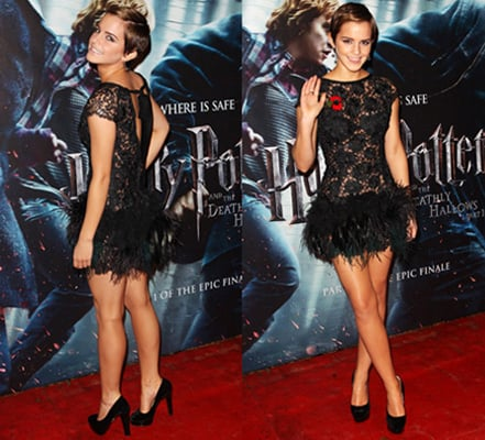 Emma Watson In Rafael Lopez Feathers At The Harry Potter