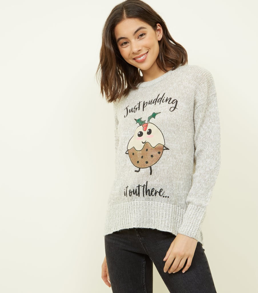 New Look Christmas Pudding Slogan Jumper