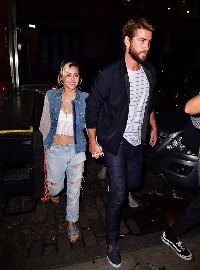 "After attending an NYC screening of The Dressmaker with Kate Winslet on Friday, Liam Hemsworth celebrated with a night out on the town with Miley Cyrus. The couple, who is currently in the midst of planning their nuptials, was spotted heading to dinner at Catch. Miley was all smiles as she walked alongside Liam, who was ever the gentleman as he led the way for her and guided her inside the restaurant.  Miley currently graces the cover of Elle's October issue, and in the magazine, the singer casually mentioned her fiancé, revealing he's really into Pokémon Go, saying, ""I'm not on Pokémon Go. [This morning] Liam woke up and tried to go to the car wash because it was a — what do you call it? — PokéSpot."" She also admitted that she'll never do a red carpet again because ""people are starving, am I on a carpet that's red? Because I'm 'important'? Because I'm 'famous'? That's not how I roll. It's like a skit — it's like Zoolander.""       Related:                                                                                                           6 Times Miley Cyrus and Liam Hemsworth's Quotes About Each Other Hit You Like a Wrecking Ball"