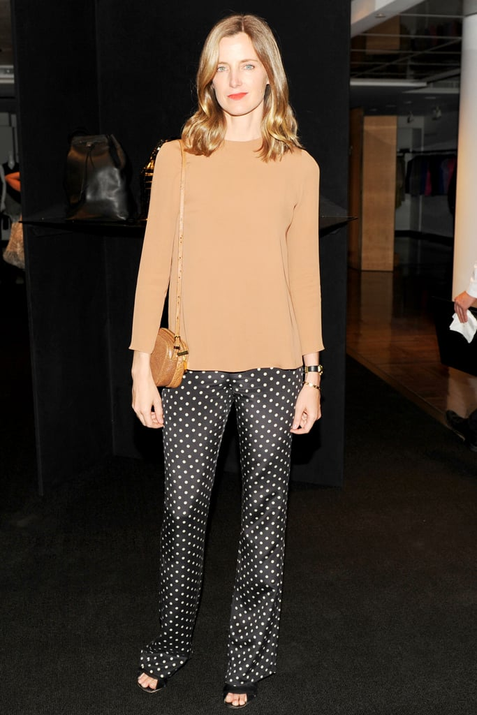 Amanda Brooks wearing the Twin Mini Double Zip Messenger in Tan Ostrich
