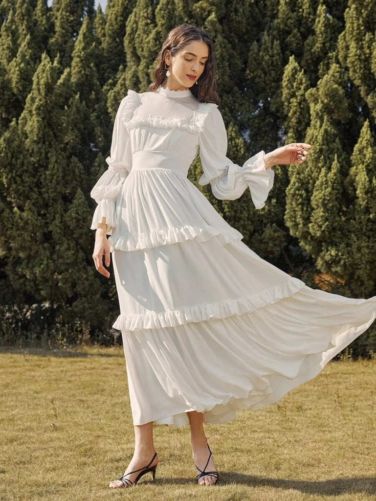 Shein Mock Neck Gathered Sleeve Layered Ruffle Detail Dress