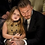 Harper stole the spotlight when she sat with her dad during the Burberry show in LA in April 2015.