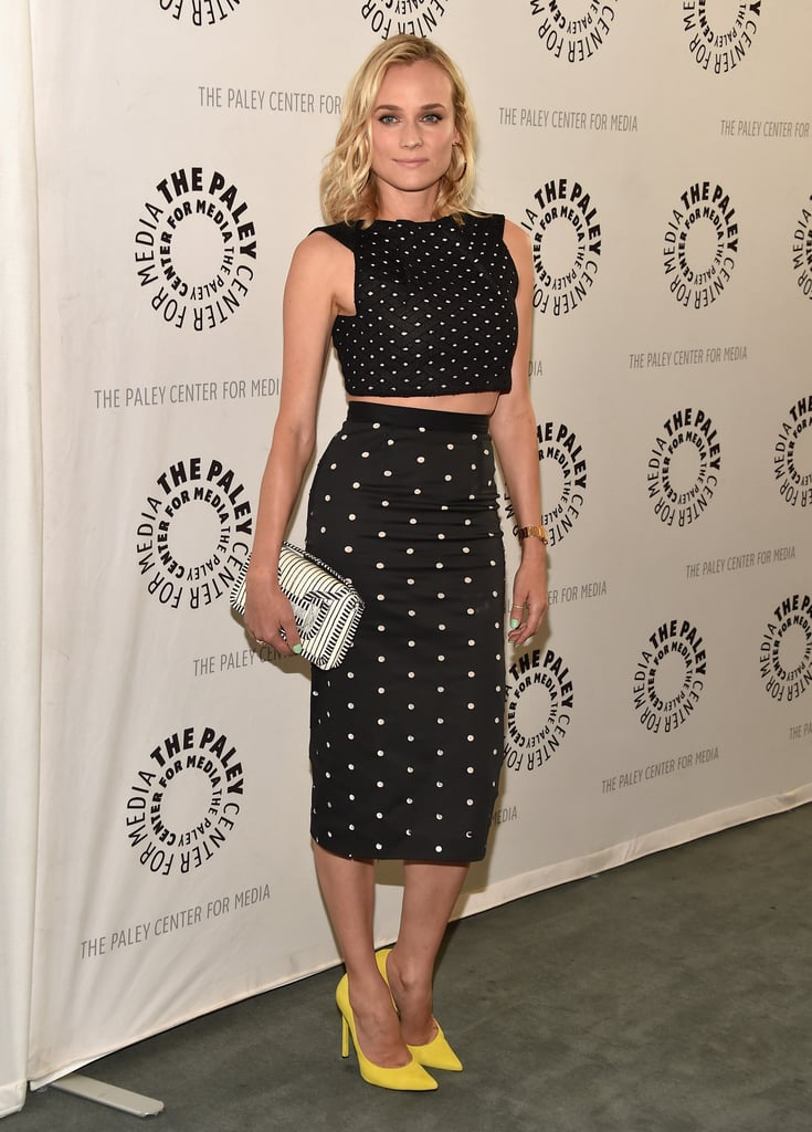 Kruger spiced up her two-piece Roland Mouret crop top and pencil skirt with sunny yellow pumps for a 2014 Paley Center event.