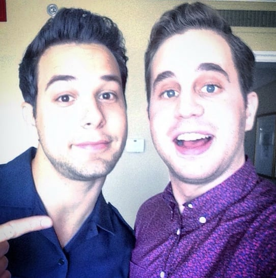 """While promoting Pitch Perfect 2, Ben and Skylar snapped a selfie, saying, """"Press junketing: Team Jew. #PitchPerfect2."""""""