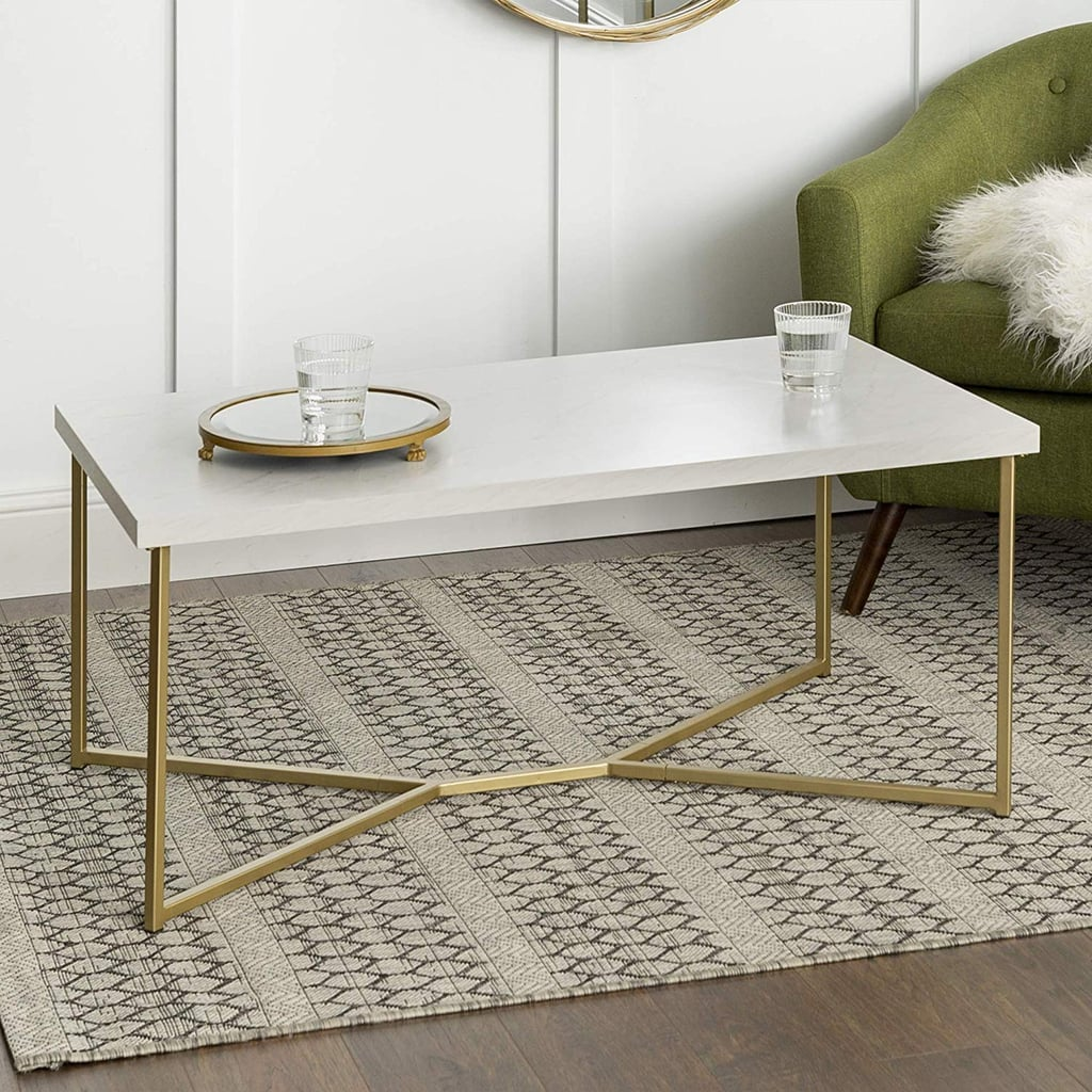 WE Furniture Mid Century Modern Rectangle Coffee Table