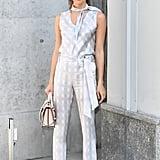 Sara Sampaio Attended the Giorgio Armani Show in Silver Separates