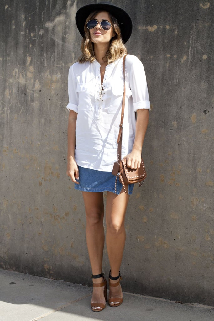 A classic white button down will always be in style.