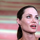 Angelina Jolie fought back tears as she spoke at the press conference.