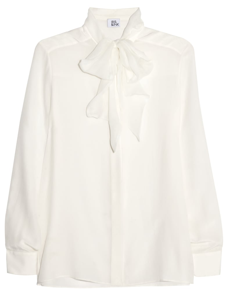 Iris & Ink White Silk Pussy-Bow Blouse
