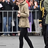 Later in the day, Kate covered up in her anorak and slipped into white sneakers for a boat ride.
