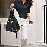 A Lightweight Top and White Trousers Is a Perfect Summer Combination