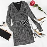 Shein Sequin Detail Glitter Mesh Wrap Dress