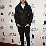 Justin Chatwin wore a black jacket.