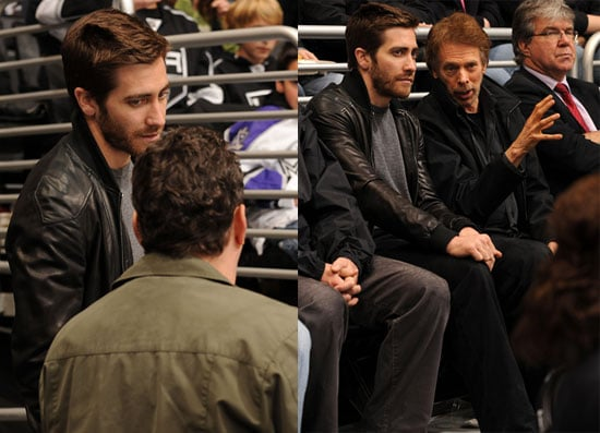Jake Gyllenhaal at a Ice Hockey Game With Jerry Bruckheimer and Vince Vaughn