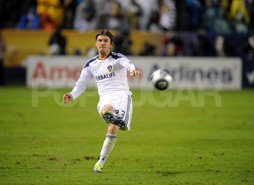 David Beckham gave his signature kick.