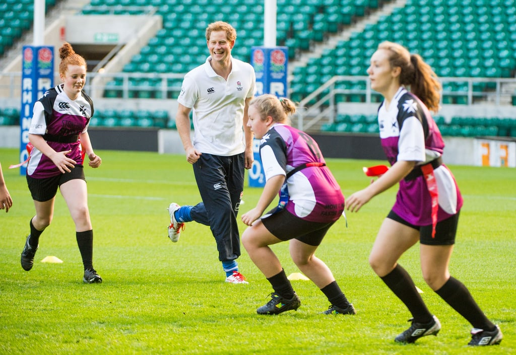 Prince Harry played with both a boys' team and a girls' team.