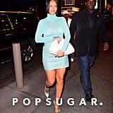 Rihanna Wearing Blue Fenty Heels