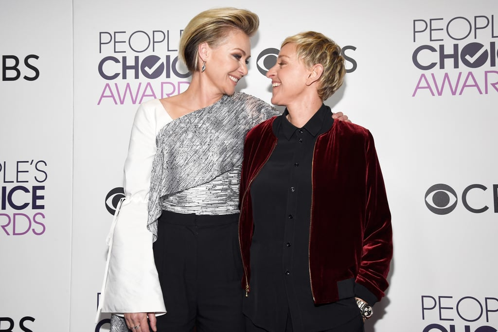 Ellen DeGeneres and Portia de Rossi could not look more in love if they tried. On Wednesday, the couple made their way to the People's Choice Awards in LA, and we just couldn't get enough of their cute interactions. In addition to Ellen making history, the pair held hands as they struck poses on the red carpet and exchanged loving looks while sitting in the audience next to Justin Timberlake. If we had to pick one couple who always looks like they're having fun, it would definitely be Ellen and Portia.      Related:                                                                ICYMI, Here's What Dwayne Johnson Said to Kevin Hart During His Censored PCAs Speech                                                                   Look Back on the People's Choice Awards Red Carpet Style From Last Year