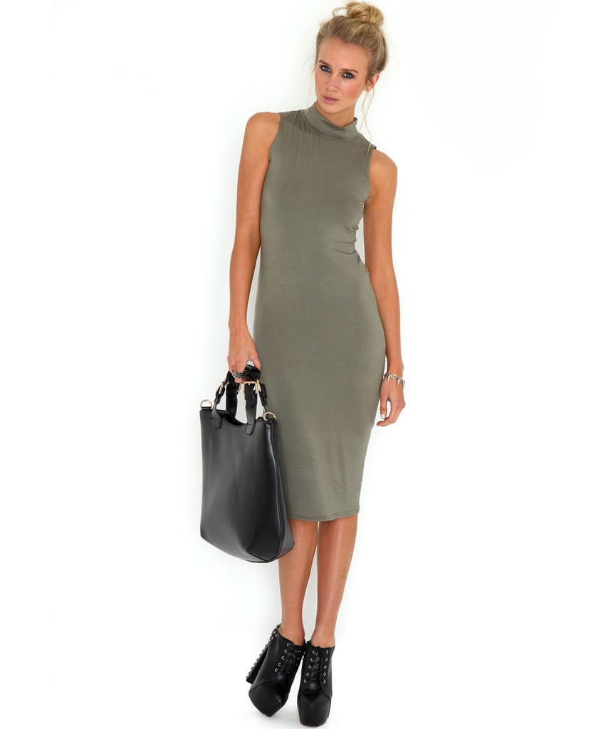 A sleek knee-length dress ($10) is professional looking.