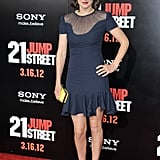 Cobie Smulders looked ultragirlie in a Nina Ricci dress with a sheer neckline.