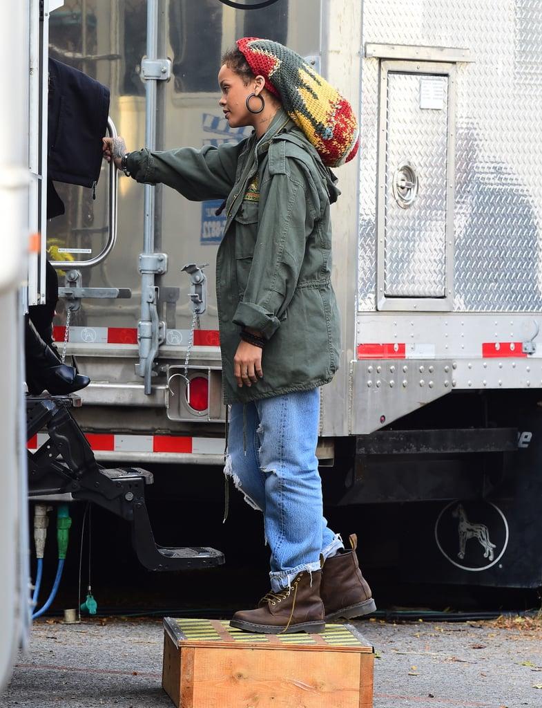 Rihanna on the set on Nov. 2.