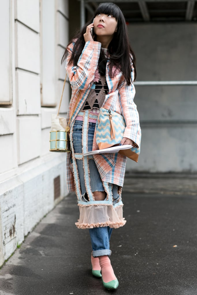 Susie Bubble's cutout plaid layers would be better suited for the runway than the street.