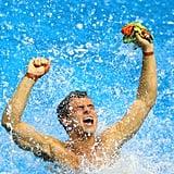 Team GB's diver Tom Daley splashed in joy after winning bronze.