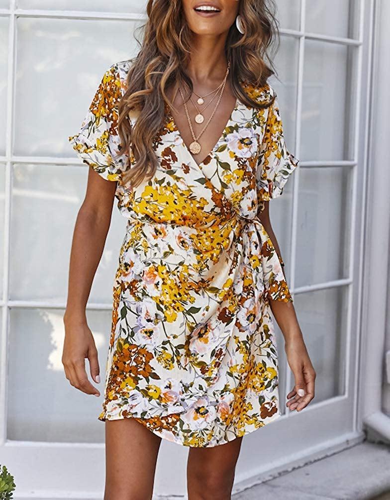 FFLMYUHULIU Floral Wrap Dress
